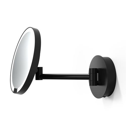 Decor Walther Round Just Look WR Косметическое зеркало 21.5см, подвесное, увел. 5x, подсветка LED, цвет: черный матовый