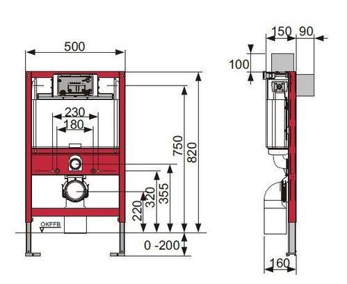 Система инсталляции для унитазов Tece TECEprofil низкая