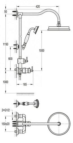 Душевая стойка с термостатическим смесителем, с ручным и верхним душем CEZARES LIBERTY