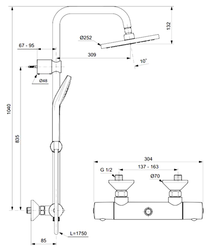 Душевая система Ideal Standard Idealrain Luxe Eco Evo термостат