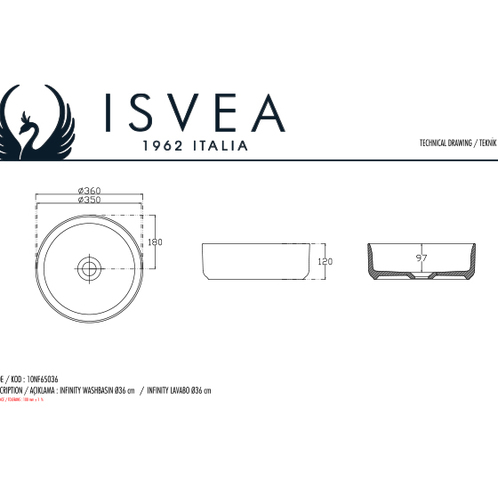 Isvea Infinity Умывальник накладной, 360х360х120мм белый