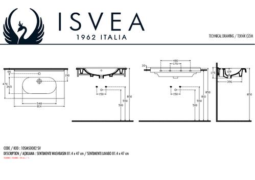 Isvea Sentimenti Flat Умывальник подвесной, 820х465мм, белый