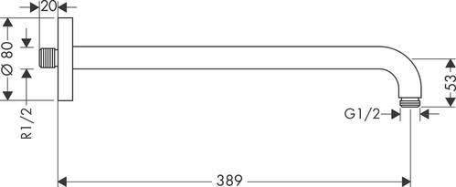 ДЕРЖАТЕЛЬ БОКОВОЙ ДЛЯ ПОТОЛОЧНОГО ДУША HANSGROHE, 39 СМ
