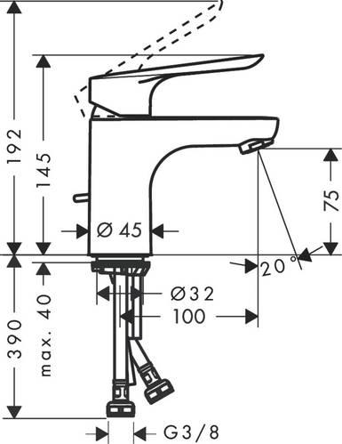 Logis E Смеситель для раковины 70, однорычажный, со сливным гарнитуром