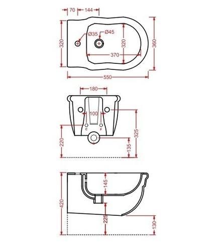 Artceram HERMITAGE Биде подвесное 36х55см с 1 отв под смеситель, с крепежом в комплекте, цвет белый