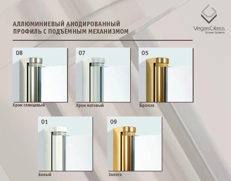 Душевой уголок Vegas Glass AFP-Fis Lux, 100 x 90 x 199.5 см, профиль бронза, стекло прозрачное