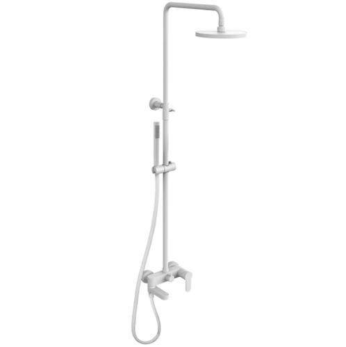 Душевая система Paffoni Light с изливом для ванны белый матовый