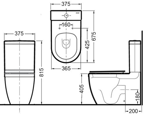 Унитаз Bravat Gina напольный с крышкой микролифт, горизонтальный выпуск