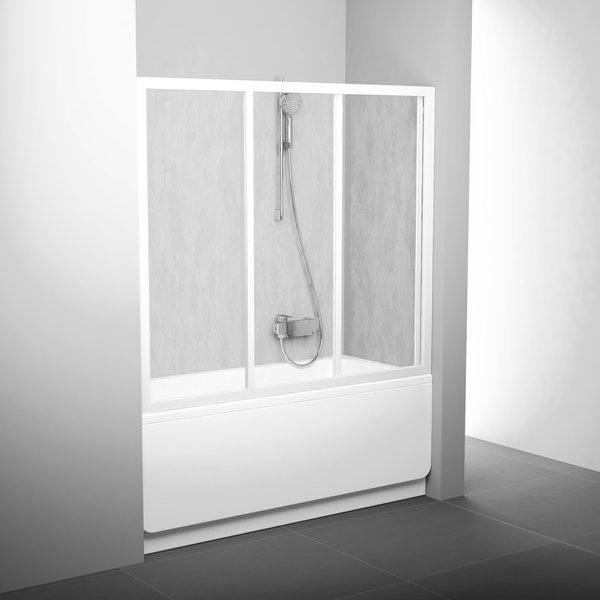 Ravak Шторка для ванны трехэлементная подвижная (Профиль сатин, стекло прозрачное)