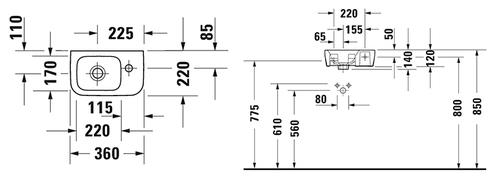 Смеситель для раковины Hansgrohe Metris, фасадная+скрытая часть