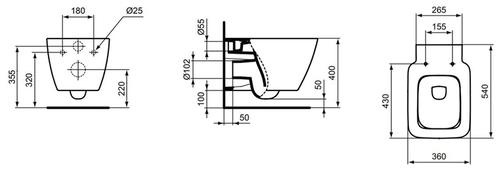 Унитаз подвесной Ideal Standard Strada II AquaBlade, 54x36 c сиденьем плавное закрывание