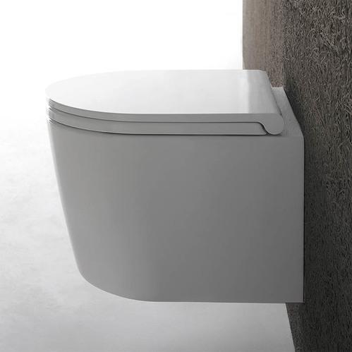 GLOBO Forty3 Унитаз подвесной БЕЗОБОДКОВОЙ 43x36 см, с системой скрытого крепежа, цвет: белый с сиденьем микролифт