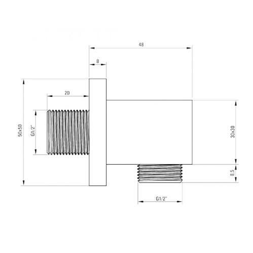 Подключение для шланга квадратный DEANTE CASCADA, хром