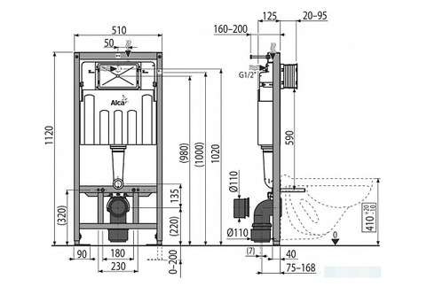 Унитаз с инсталляцией AlcaPlast, подвесной с крышкой, кнопкой M71 хром глянец