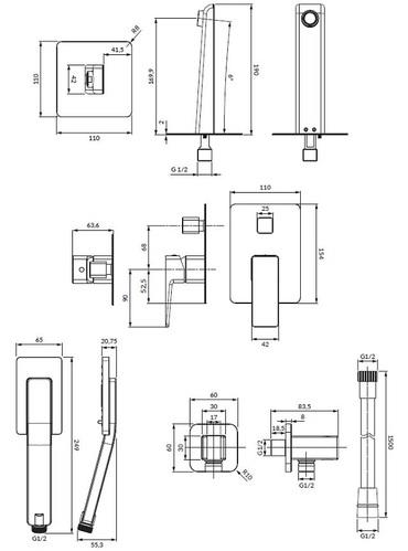 Omnires Parma Система для ванны скрытого монтажа, черный матовый