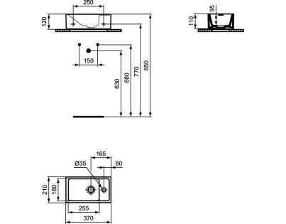 Умывальник Ideal Standard Tempo 37X21 см настенный правый