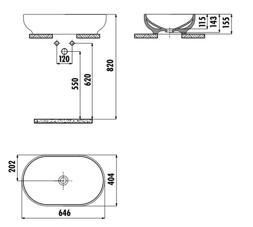 Умывальник Creavit Mina овальный на столешницу 65х40х15,5