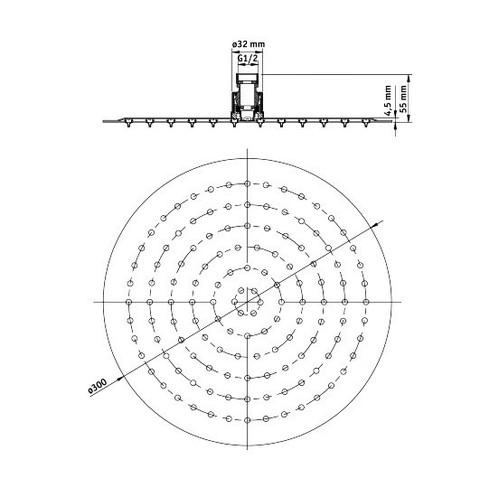 Верхний душ стальной круглый DEANTE CASCADA NERO FLOX d=300 мм, черный
