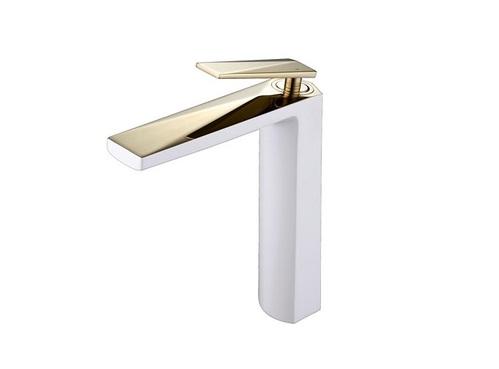 Смеситель для умывальника Boheme Venturo высокий, золото-белый