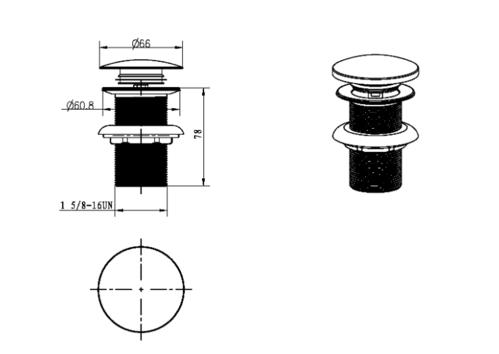 Слив для раковины, автомат(клик-клак), Boheme хром