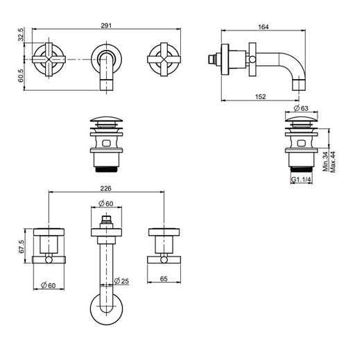 Carlo Frattini Maxima Смеситель для раковины настенный, на 3 отв., излив 200 мм., донный клапан Click-Clack, цвет: черный матовый