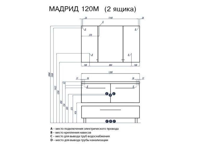 Комод с ящиком МАДРИД 120 М чёр. гл.