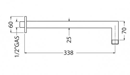 """RICAMBI QUADRATO Кронштейн для верхнего душа L-350 mm. 20x20 mm. 1/2""""x1/2"""""""