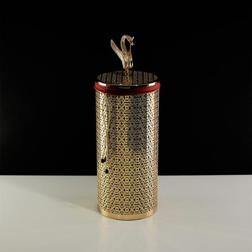Корзина для белья ажурная 22 литра, D23xH56 см. Migliore Luxor, золото