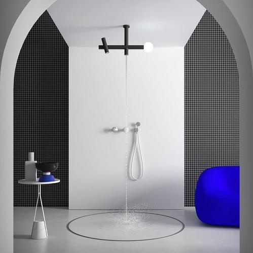 ANTONIO LUPI APOLLO Верхний душ Ø45 мм., с LED подсветкой, потолочный монтаж, с 2 изливами, цвет черный матовый