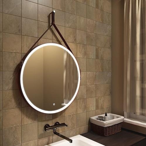 Зеркало Континент Millenium Black Led 65x65, с подсветкой, сенсор, ремень, черный