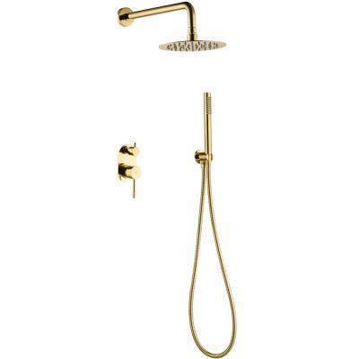 Смеситель встроенный + верхний+ ручной душ, Boheme Uno. Gold