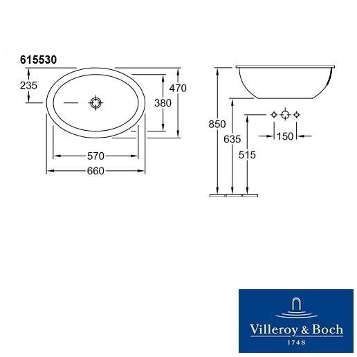 Раковина встраиваемая Villeroy&Boch Loop&Friends, 47x66 см