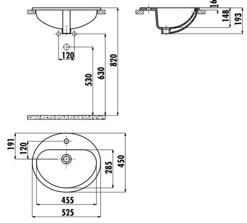 Умывальник Creavit TP овальный врезной на столешницу 45*52 см