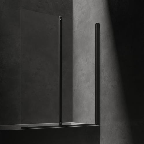 Omnires KINGSTON Шторка для ванны, двухстворчатая, 120 cм, черный матовый / прозрачный