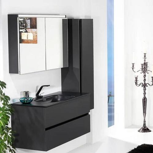 Зеркальный шкаф Vallessi 100х65см  антрацит матовый (Soft touth)