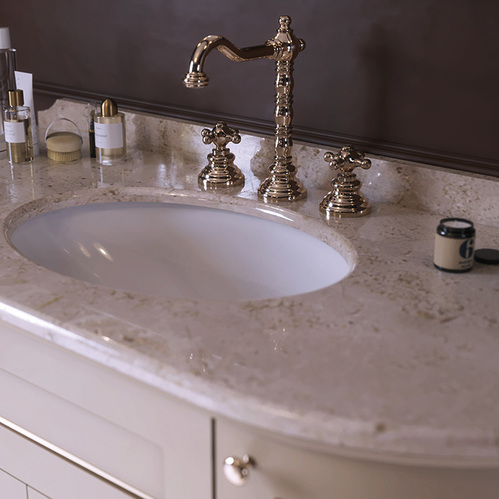 TW York Nuovo Комплект мебели с мраморной столешницей с 1 отв., 130см, Цвет базы: bianco/oro, мрамор: diano
