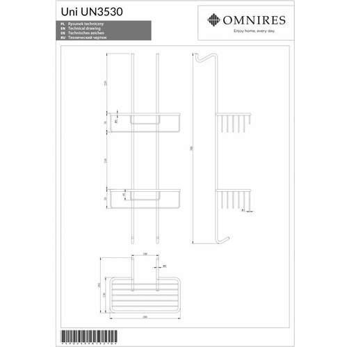 Omnires UNI Двойная полка-корзина для душа, 26 x 70 x 13 cm, хром
