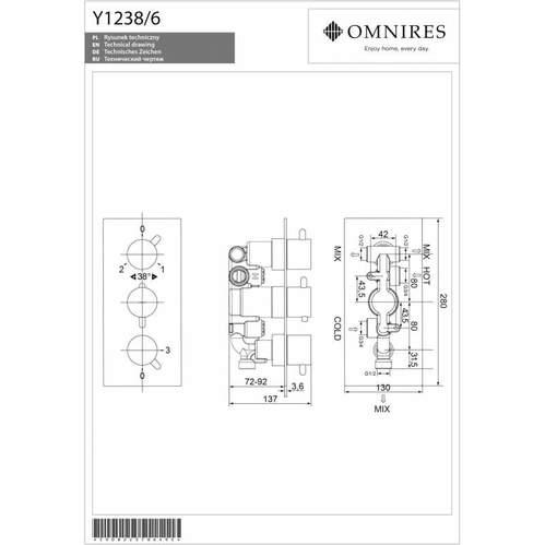 Omnires Y Смеситель термостатический для скрытого монтажа на 3 выхода, хром