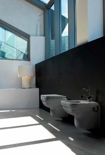 Kerasan Waldorf Унитаз подвесной 55х37см, фурнитура хром + Сиденье для унитаза, цвет белый/хром, микролифт