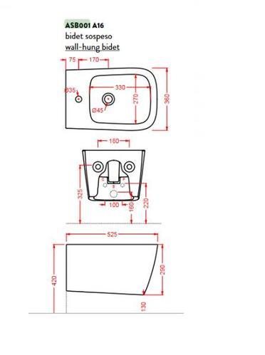 Биде подвесное ArtCeram A16 36х52.5 см, 1 отверстие, цвет матовый черный