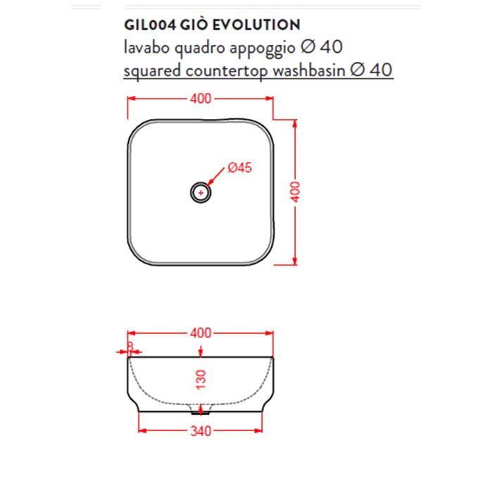Раковина накладная Artceram Hidra Gio Evolution 40х40 см, цвет белый