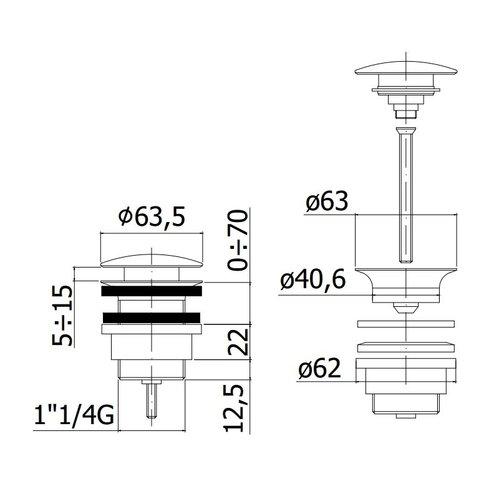 Латунный донный клапан Paffoni UNIVERSAL (хром)