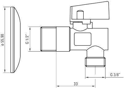 Кран шаровый угловой DEANTE 1/2*3/8 с фильтром, никелированный