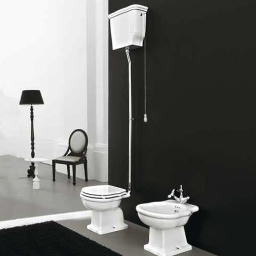 Artceram HERMITAGE Унитаз приставной слив в пол, 36х55, с крепежом в комплекте, цвет белый с бачком с высокой трубой, цвет хром, сиденье на выбор