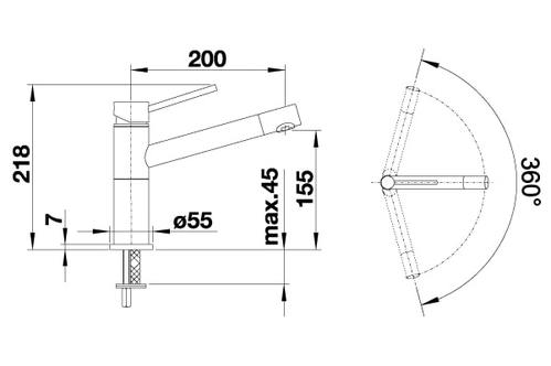 Смеситель BLANCO ALTA Compact хром/антрацит