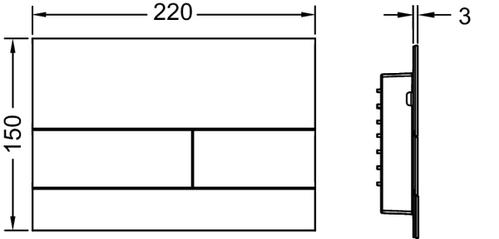 Металлическая панель смыва унитаза TECEsquare II для системы с двойным смывом, материал металл, цвет панели/клавиш глянец, позолоченный