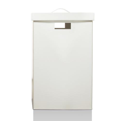 Decor Walther Brownie WB Корзина для белья 38.5x38.5x60.5, с крышкой, цвет: черная кожа и белая