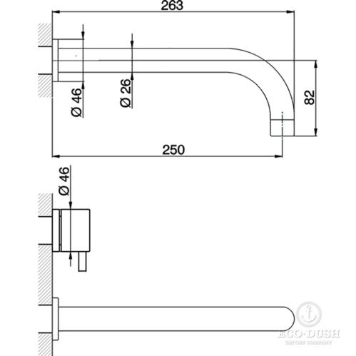 CISAL Less New Смеситель для раковины на 3 отверстия из стены,излив 250 мм, цвет черный матовый