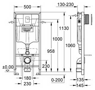 Инсталляция для подвесного унитаза Grohe Rapid SL  (4 в 1) с кнопкой смыва