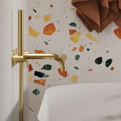 Omnires Y Смеситель для ванны скрытого монтажа на 5 отверстий, золото брашированное